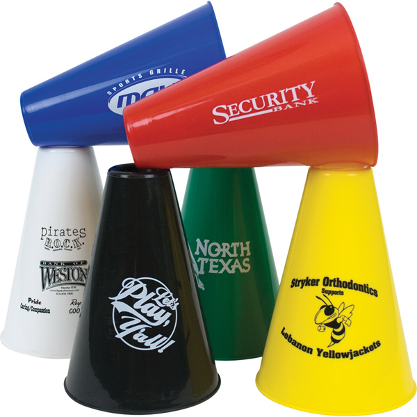 "Customized 7.5"" Souvenir Plastic Megaphones, Solid Colors"
