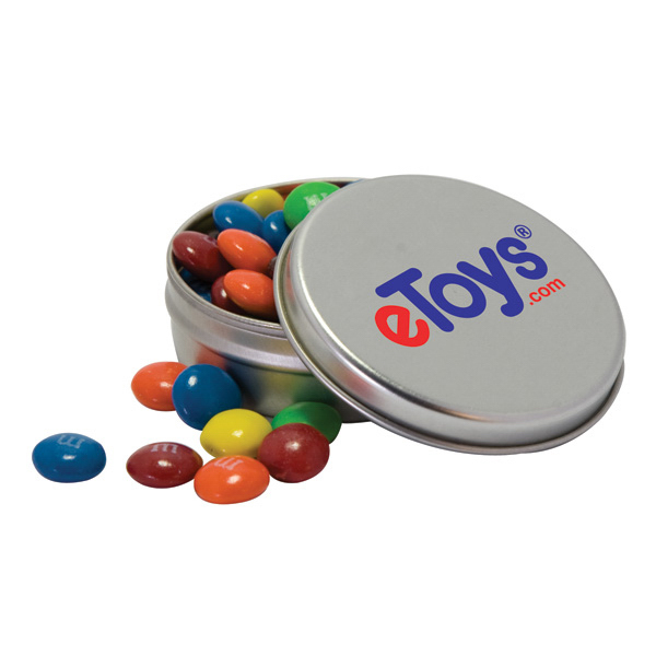 Promotional Candy Covered Chocolate Beads in Solid Top Tin