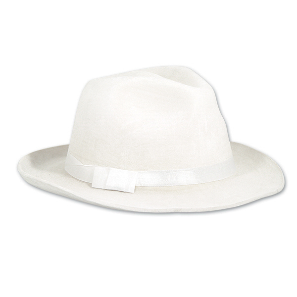 Printed White Velour Gangster Hats
