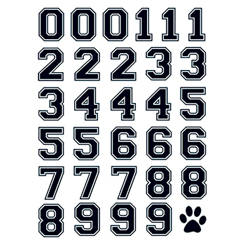 Imprinted Black Sports Numbers Temporary Tattoo Sheet