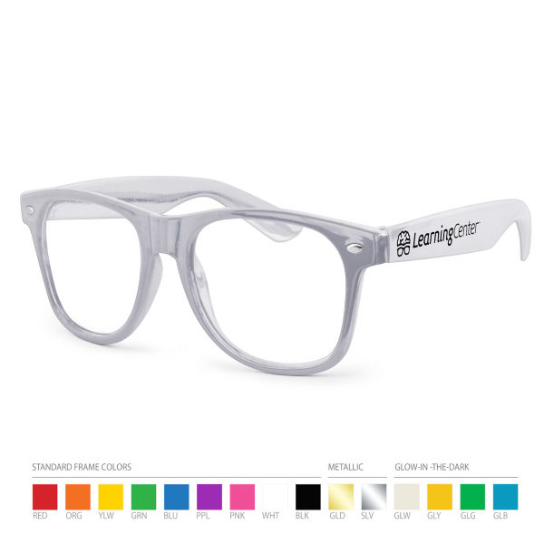 Imprinted Silver Wayfarer Geek Glasses with Side Imprint, No Setups!