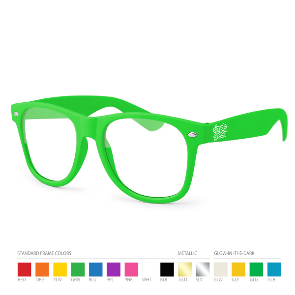 Custom Green Wayfarer Geek Glasses with Side Imprint, No Setups!
