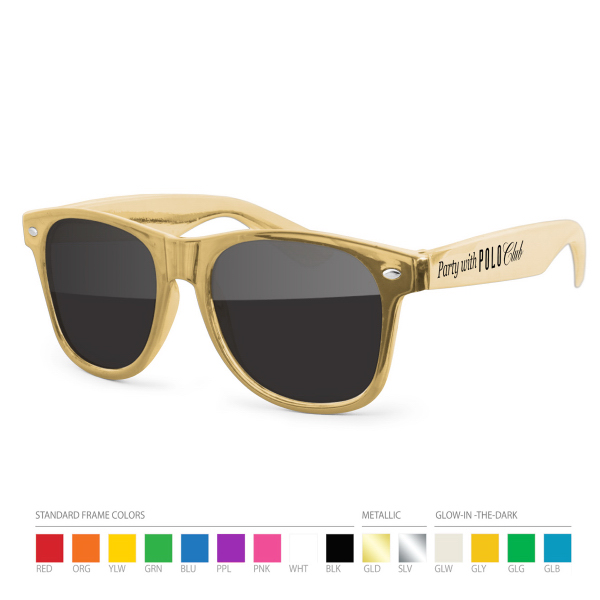 Imprinted Gold Wayfarer Sunglasses with Side Imprint, no setups!