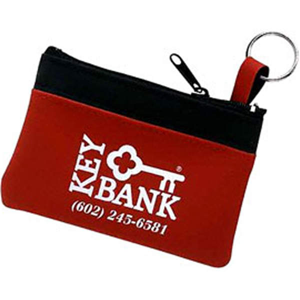 Imprinted Campolina - Single Pocket Coin and Key Pouch with Key Ring