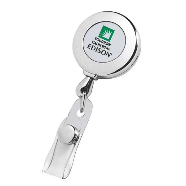 Imprinted Circle Chrome Retractable Badge Holder
