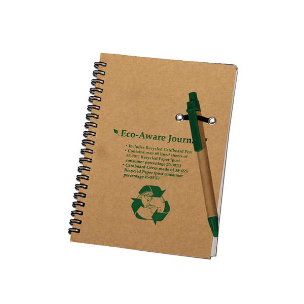 Imprinted Cedar - Eco-Aware Recycled Journal Combo