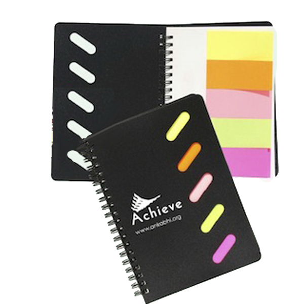 Customized Spiral Notebook with Colored Sticky Notes