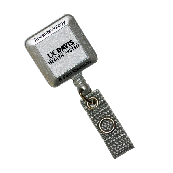 Printed Deluxe Square Silver Retractable Badge Holder