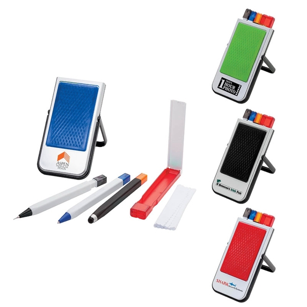 Custom Mobile Device Stand w/Pen, Pencil, Stylus & Microfiber Cloth