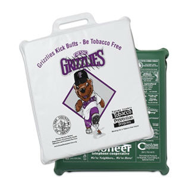 "Imprinted Square Vinyl Stadium Cushion - 2"" Thick"