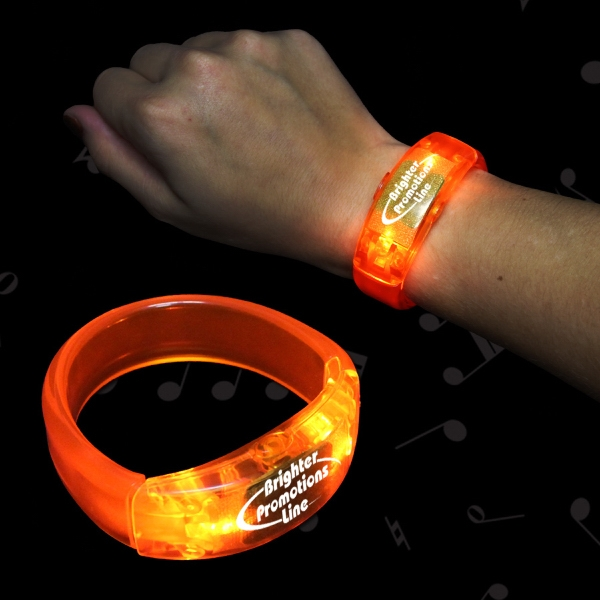Personalized Orange LED Light Up Bangle Bracelet