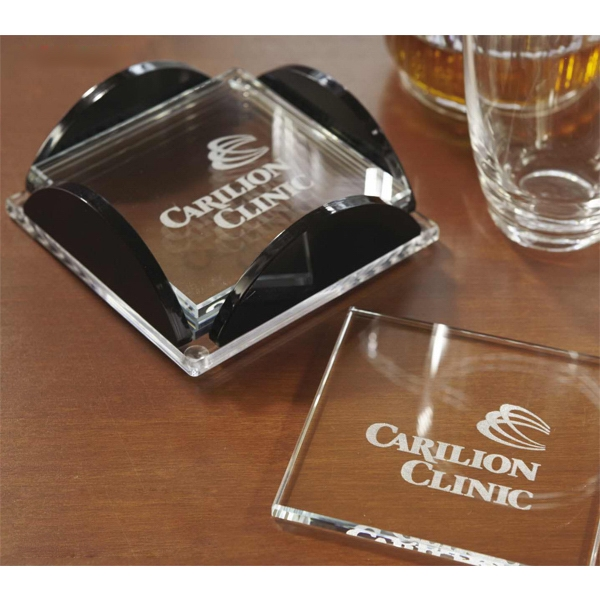 Imprinted Square Glass Coaster Set