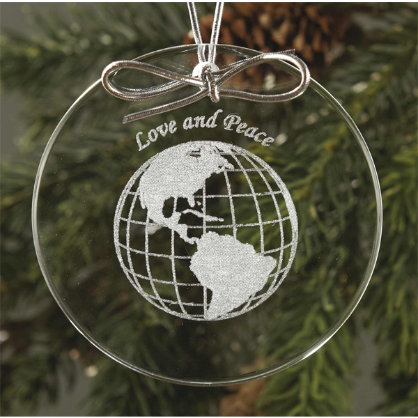 Imprinted Circle Glass Ornament