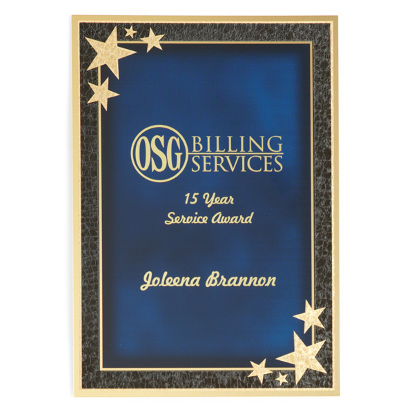 Imprinted Beveled 7 x 10 Plate w Plaque