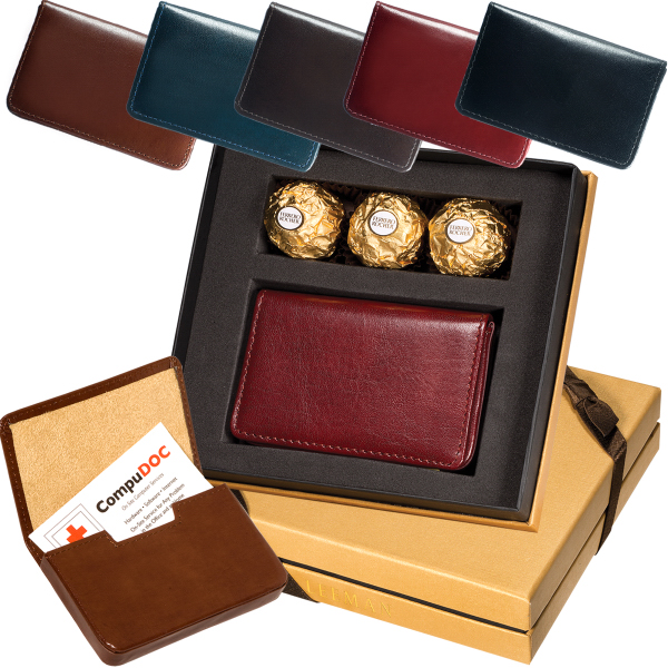 Personalized Chocolates & Leeman New York Soho Card Case