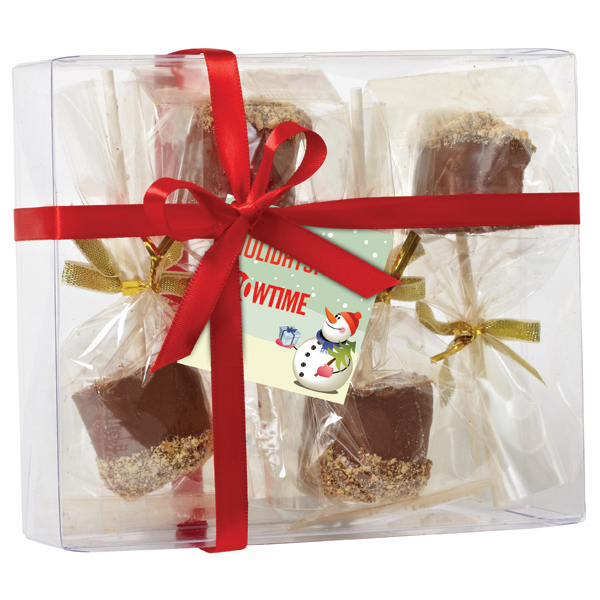 Printed Elegant Gift Box with 4 Chocolate Covered Marshmallows
