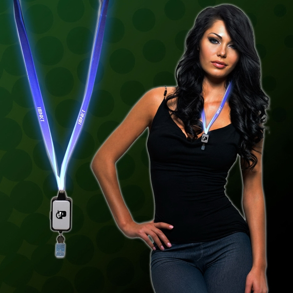 Imprinted Light Up LED Lanyard with Badge Clip