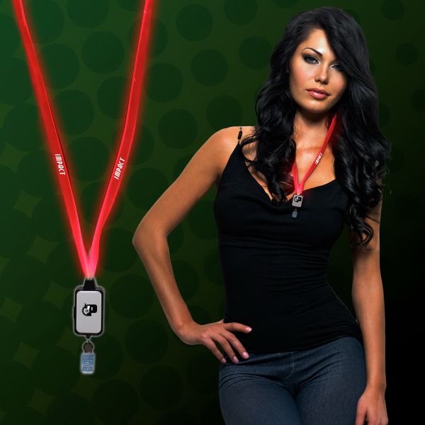 Printed Light Up LED Lanyard with Badge Clip