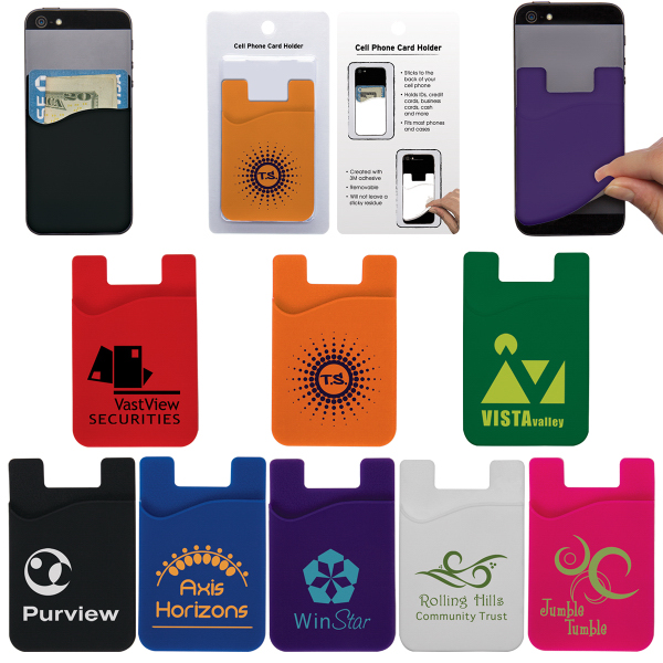Imprinted Cell Phone Card Holder w/Packaging