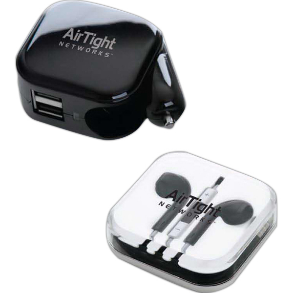 Imprinted AC/DC Charger with High Quality Stereo Earphone