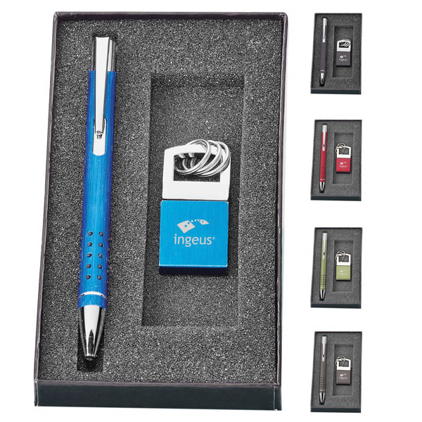 Imprinted Alissa Pen and Key Ring Set