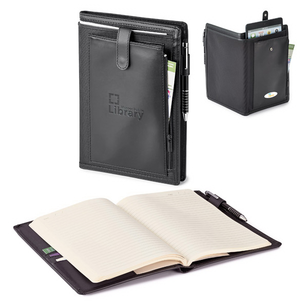"Printed Lona Mini Tablet Holder with 6"" x 9"" Refillable Journal"
