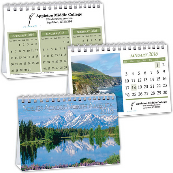 Imprinted Kingswood Scenes Across America Executive Desk Calendar