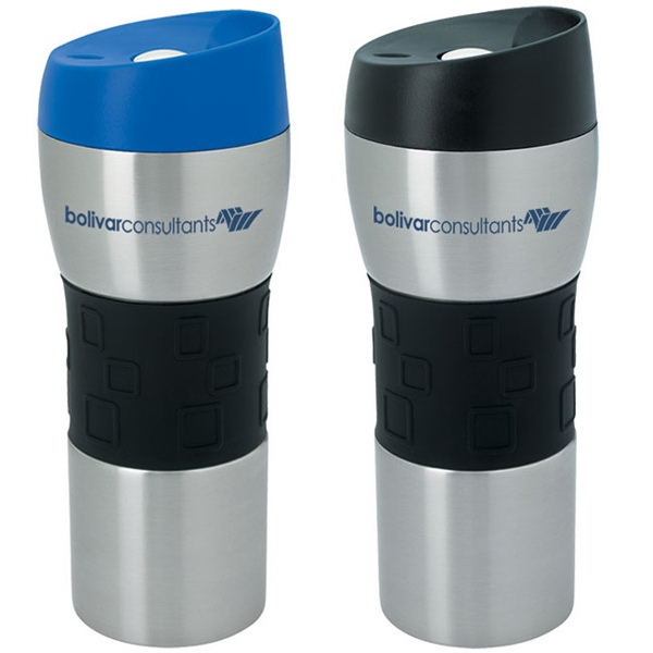 Promotional Stainless Tumbler with Grip - 16 oz