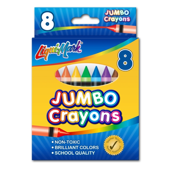 Printed 8 Pack Jumbo Crayons - Assorted Colors