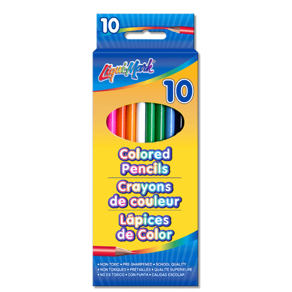 "Promotional 10 Pack Colored Pencils - 7"" Pre-Sharpened"