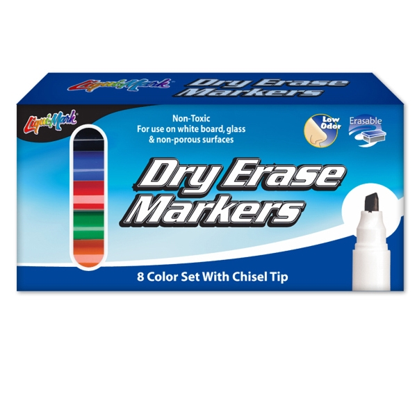 Customized 8 Pack Dry Erase Markers - Chisel Tip