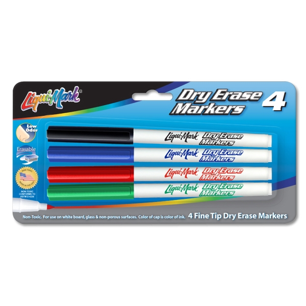 Printed 4 Pack Dry Erase Markers - Fine Tip - USA Made