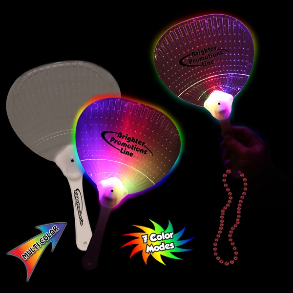 "Promotional 10 3/4"" LED hand Fan with j-hook"