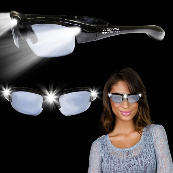 Imprinted Black Wrap LED Sunglasses