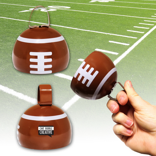 "Imprinted 3 1/2"" Football Metal Cowbell"