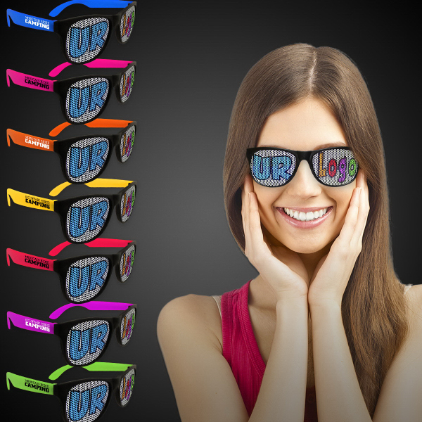 Imprinted Custom Neon Billboard Sunglasses