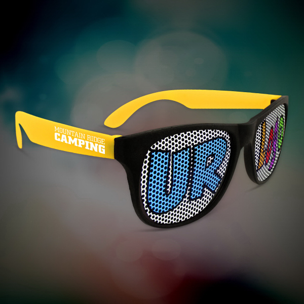 Printed Custom Yellow Neon Billboard Sunglasses