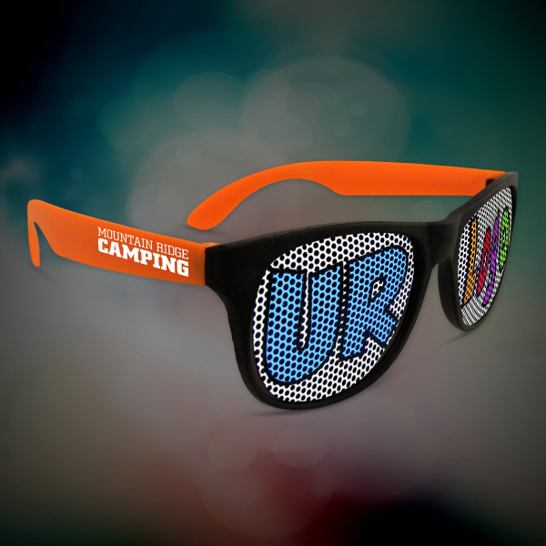 Imprinted Custom Orange Neon Billboard Sunglasses