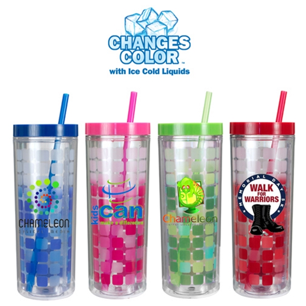 Imprinted 16 Oz Mood Cube Tumbler Full Color Digital