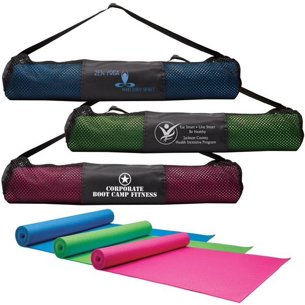 Imprinted Yoga Fitness Mat and Carrying Case