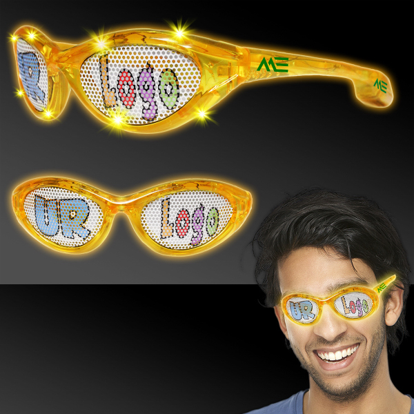 Personalized Yellow Custom LED Billboard Sunglasses
