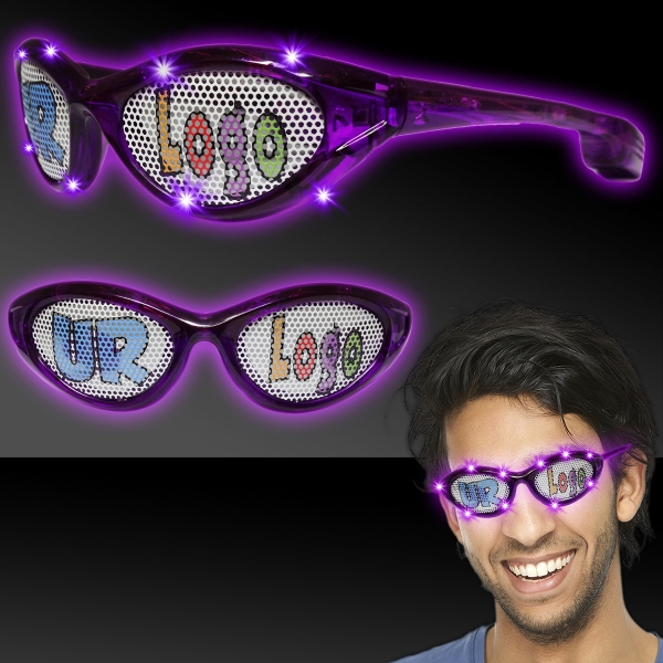 Imprinted Purple Custom LED Billboard Sunglasses