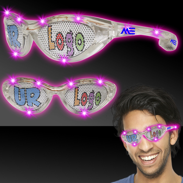 Printed Pink Custom LED Billboard Sunglasses