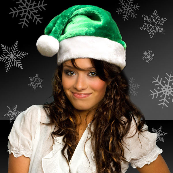 Promotional Green Plush Santa Hats (Blank)