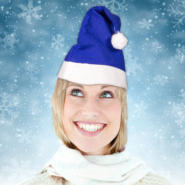 Customized Blue Felt Santa Hats (Blank)