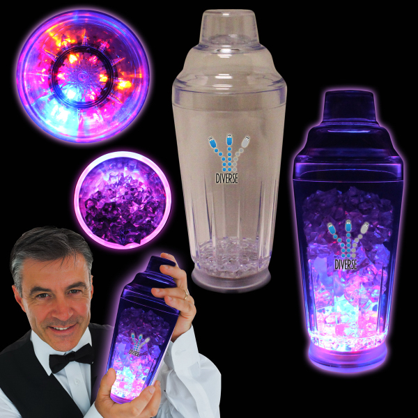 Imprinted 16 oz Clear Plastic Flashing Light Up Cocktail Shaker