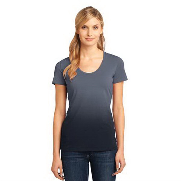 Printed District Made® ladies dip dye rounded deep v-neck tee