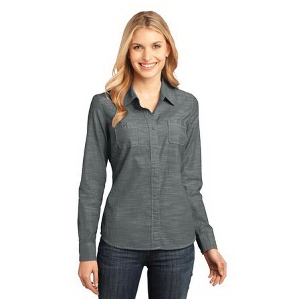 Personalized District Made (TM) - Ladies' Long Sleeve Washed Woven Shirt
