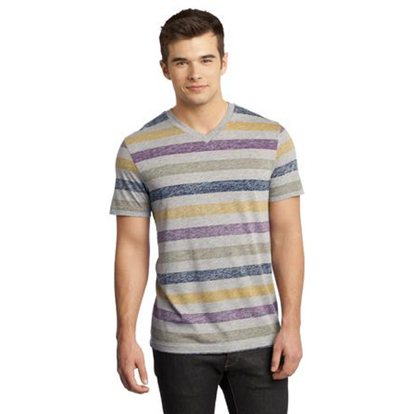 Imprinted District (R) Yound Men's Reverse Striped V-Neck Tee