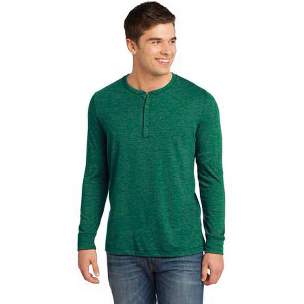 Promotional District® Young Mens Gravel 50/50 Long Sleeve Henley Tee